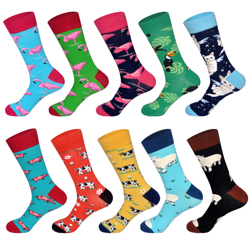 Men's Dress Socks Novelty Alien Animals Flamingo Macaw Sheep Cat Pig Cow Cotton Art Funny Happy Harajuku Hip Hop Warm For Men