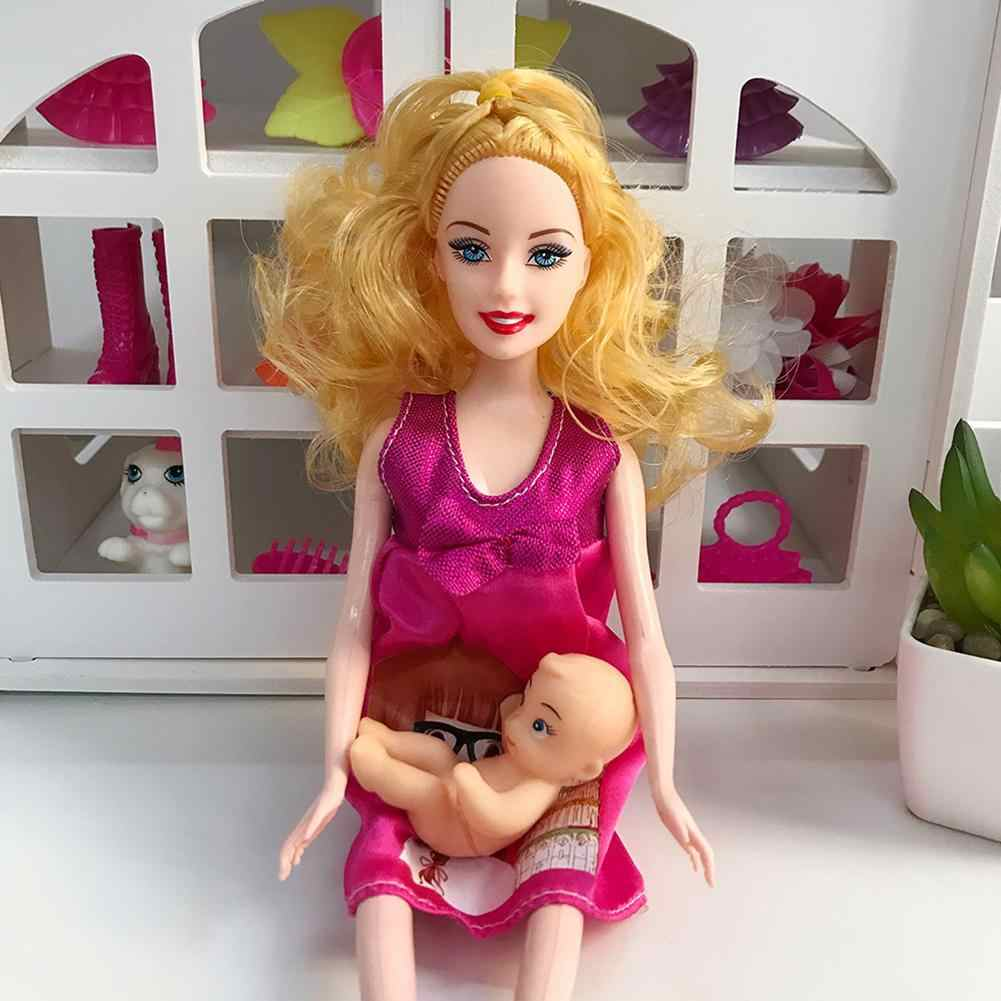 1pcs การศึกษาจริงตั้งครรภ์ตุ๊กตาชุดตุ๊กตาแม่มีเด็กของเธอ Tummy ของเล่นเด็ก 29 ซม.
