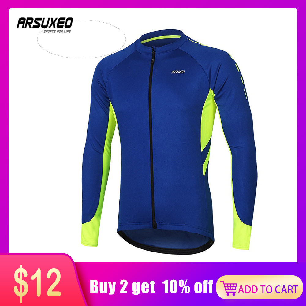 ARSUXEO Men's Long Sleeve Cycling Jersey Quick Dry Bicycle Shirts Full Zipper Mountain Bike Jerseys MTB Clothing Wear 6030 image