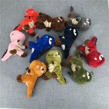 Multi-cores,-mini 10cm dinossauro recheado boneca; chaveiro corrente brinquedo de pelúcia, presente pingente do miúdo