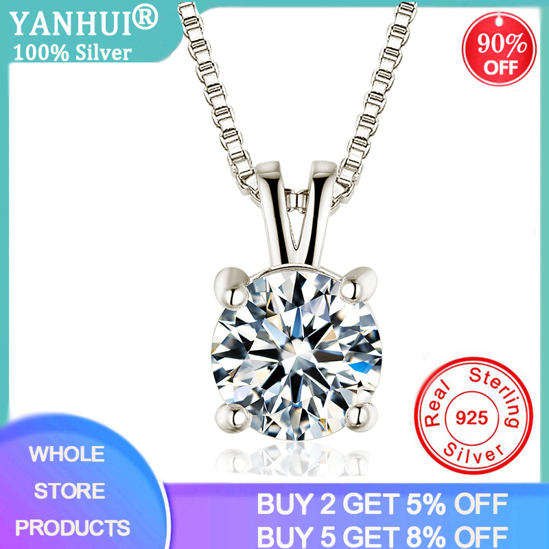 2ct Lab Diamond Solitaire Pendant Necklace 925 Sterling Silver Choker Statement Necklace Women Silver 925 Jewelry With Box Chain