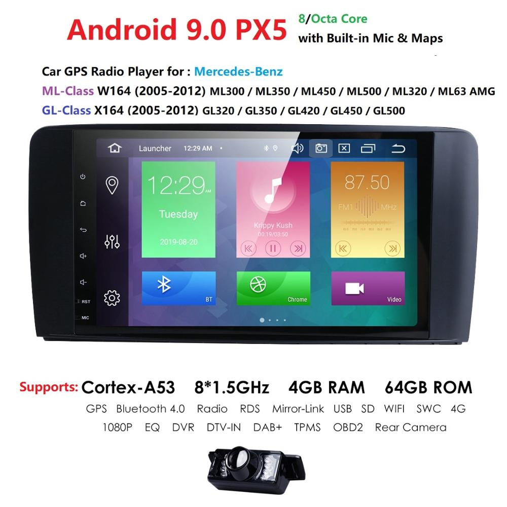 Android 9.0 4G 64G car GPS For <font><b>Mercedes</b></font> Benz <font><b>ML</b></font> GL <font><b>W164</b></font> ML350 ML500 GL320 X164 ML280 GL350 GL450 <font><b>radio</b></font> stereo navigation NO DVD image