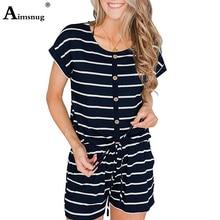 Aimsnug 2019 Women Leisure Short Playsuit Overalls Striped Casual Romper Pockets Buttons Design Summer Jumpsuits