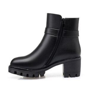 Image 5 - MORAZORA bottines à talons hauts à plateforme pour femmes, bottines en cuir véritable, garde au chaud, bottines de neige, nouvelle collection 2020