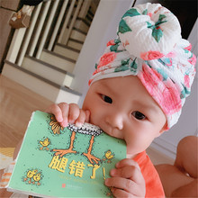 Baby Wrap Turban Toddler Kids Girl Donut Hat Lovely Soft Top knot turban Hat Spring Summer Autumn Beanie Toddler Bonnet H264S plus knot side botanical wrap top