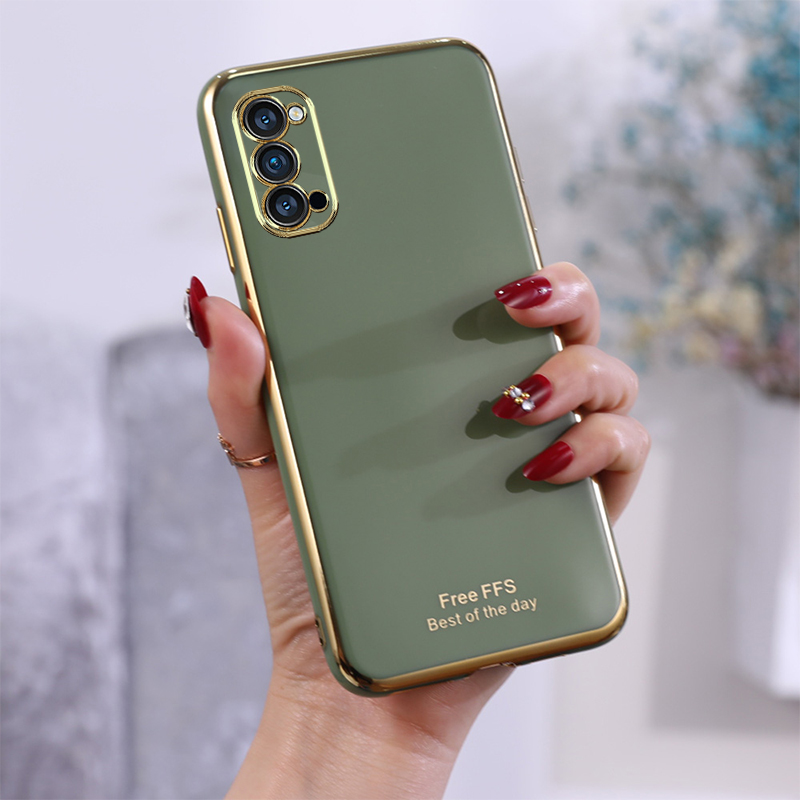 Slim Soft Case For <font><b>OPPO</b></font> <font><b>Reno</b></font> 4 Pro Phone Casing Silicone Smooth <font><b>TPU</b></font> Solid Color <font><b>Plating</b></font> Back Covers image
