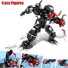 2019 New 578pcs Super Heroe Spiderman Mech Venom Mecha Building Blocks Set Toys Compatible Marvel Toy