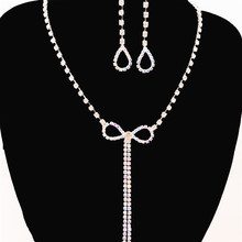Fashion rhinestone crystal bow tassel section woman elegant necklace earring set wedding bride bridesmaid jewelry accessories