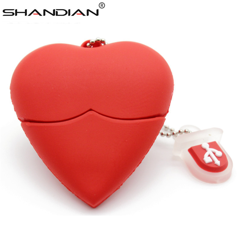 SHANDIAN Love Heart Style Usb Flash Drive Pen Drive 4gb 16gb 32G 64G Usb Stick Pendriver U Disk Thumb Drive Necklace A Good Gift