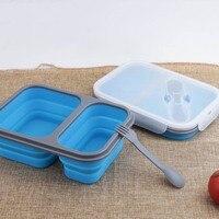 2 그리드 런치 박스 누출 방지 접이식 실리콘 식품 저장 용기 재사용 가능 utensilhf|런치 박스|홈 & 가든 -