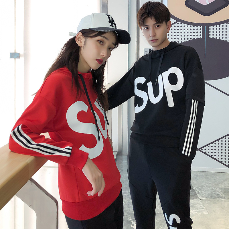 Girl'S Sports Leisure Suit Spring Hooded Couples Set Running Trend Students Long Sleeve Casual Sweatshirt Men's