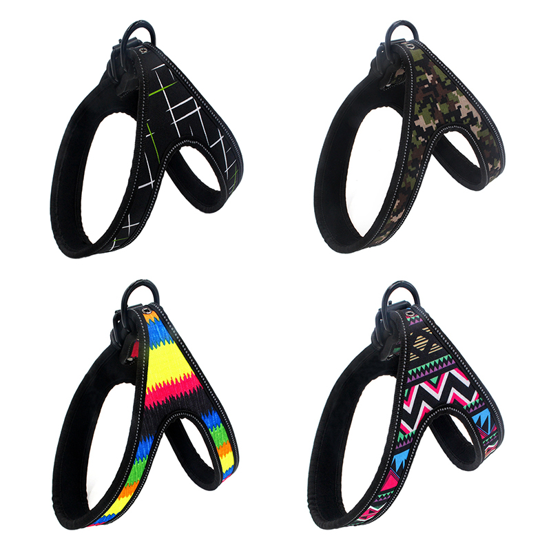 No-Pull Pet Dog Harness Adjustment Colorful Pattern Training Walking Vest Harness Pet Safe Travel Supplies For Small Medium Dogs