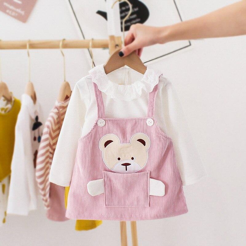 Primavera outono urso recém-nascido roupas da menina do bebê infantil manga longa vestido traje para 1st aniversário roupas bonito vestidos de princesa conjunto