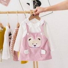Весенне-осенняя одежда для новорожденных девочек с рисунком медведя платье с длинными рукавами, костюм для первого дня рождения комплект м...