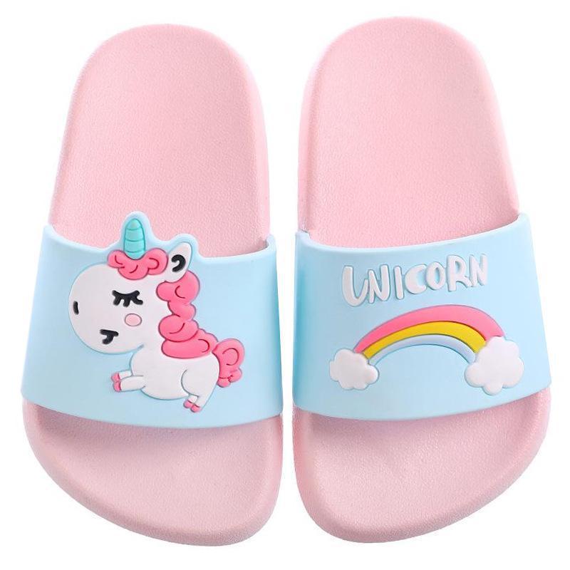 Kids Girl Boys Slippers Summer Unicorn Cartoon Rainbow Beach Water Flip Flops