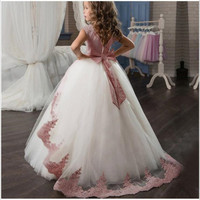 Кружевное платье принцессы с цветочным рисунком для первого причастия для девочек детское свадебное платье Элегантное Вечернее Платье, Ко...