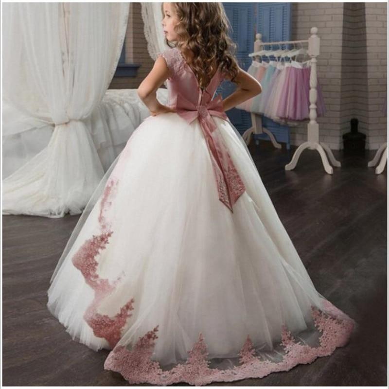 Flower First Communion Lace Princess Girl Dress Baby Wedding Dress Evening Long Elegant Party Dress Costume Kids Dress For Girls