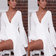 ZOGAA Women Summer Beach Dress White Elegant Layered Ruffle Sexy Deep V-neck Lantern Long Sleeve Dress Female Holiday Mini Dress