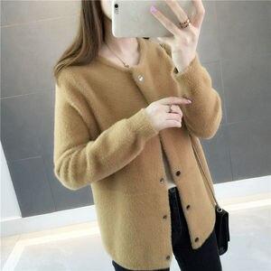 Image 5 - Mink Furฤดูใบไม้ร่วงและฤดูหนาวเสื้อ 2020 ใหม่ผู้หญิงหลวมกำมะหยี่แขนยาวCardigan