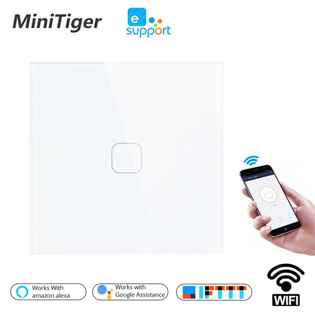 Minitiger EU/UK WIFI Smart Touch Switch APP Wireless Remote Light Wall Switch Crystal Glass Panel Works With Alexa / Google Home
