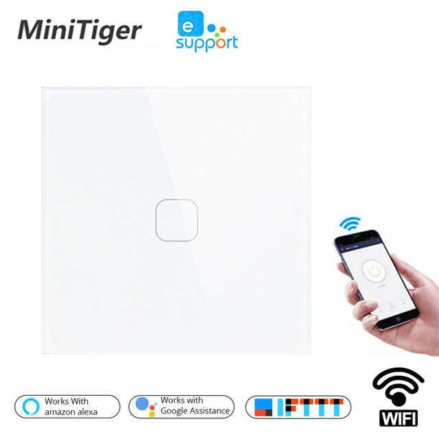 Minitiger EU/UK WIFI Smart Touch Switch APP Wireless Remote Light Wall Switch Crystal Glass Panel Works With Alexa / Google Home