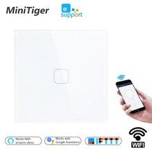 Умный сенсорный выключатель Minitiger, ЕС/Великобритания, Wi Fi, с дистанционным светильник через приложение, настенный выключатель с прозрачной стеклянной панелью, работает с Alexa / Google Home