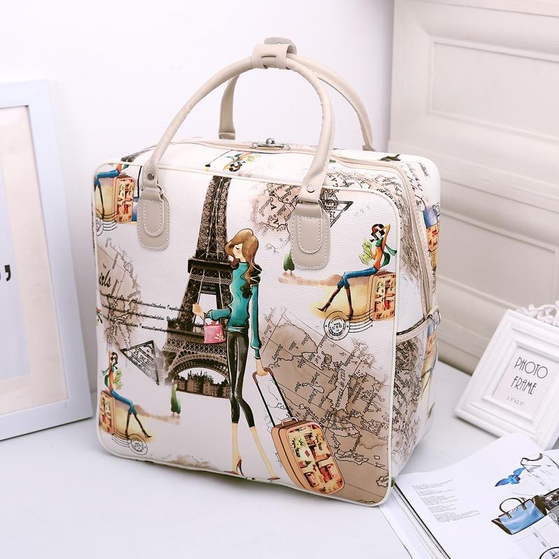 PU Leather Large Capacity Travel Bag Cartoon Cute Women Duffel Bag Girl Fashion Weekend Bags Portable Organizer Waterproof Totes
