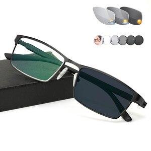Image 1 - Titanium alloy Outdoor Photochromic Reading Glasses Men Sun Automatic Discoloration Presbyopia Hyperopia Glasse gafas de lectura