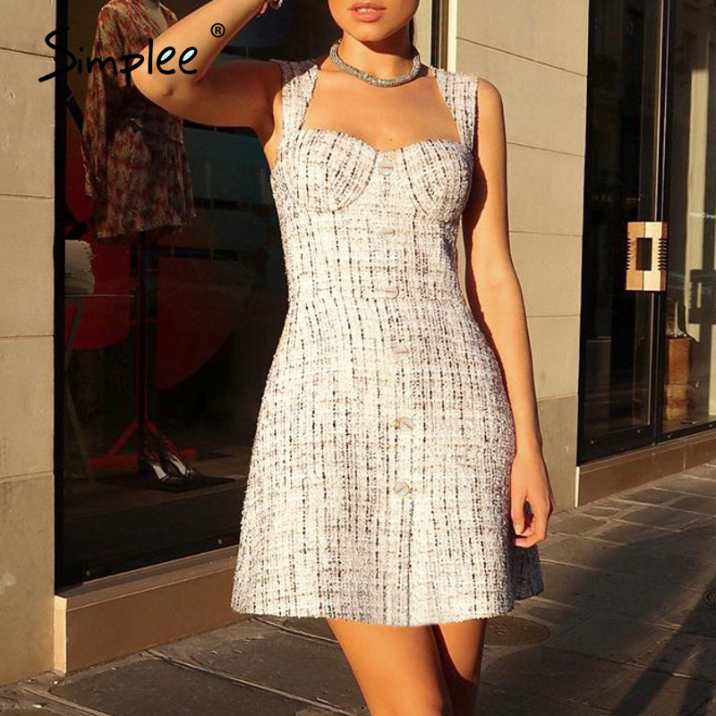 Simplee Elegant a-line sleeveless women dress Vintage white plaid high waist short dress Summer high fashion slim sexy dress