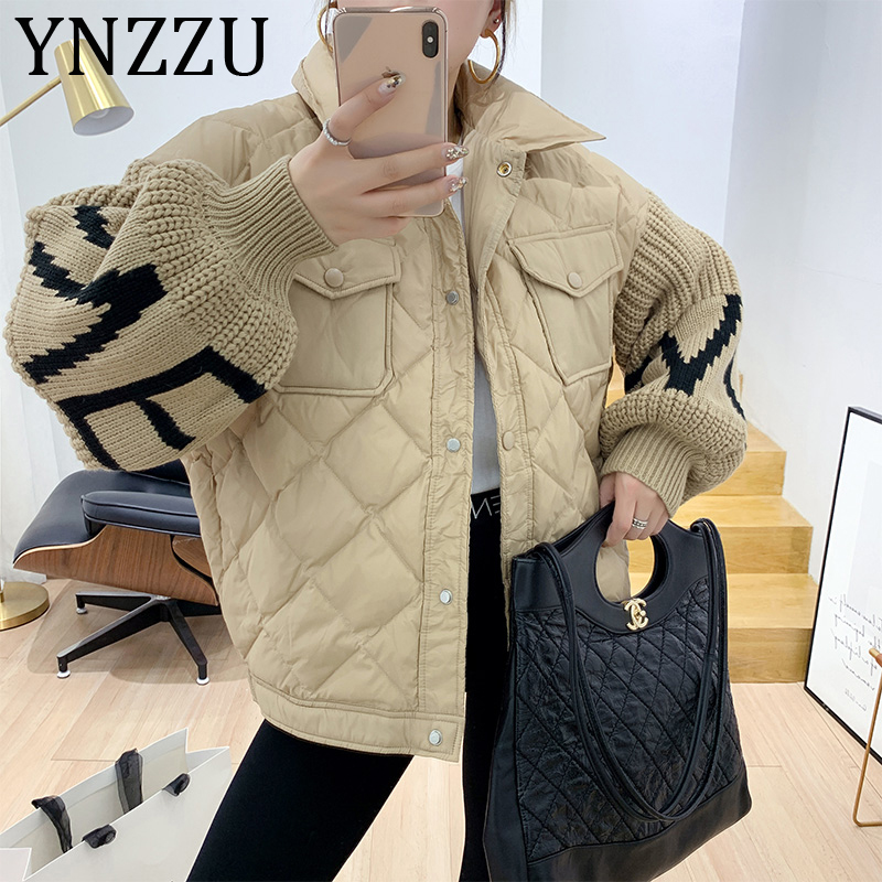 YNZZU Korean Style Letter Knitted Lantern Sleeve Patchwork Women's Down Jacket 2019 Winter Casual Female Loose Outwear A1363