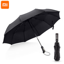 Xiaomi 2021 Wind Resistant Folding Automatic Umbrella Rain Women Big Windproof Umbrellas Rain For Men Black Coating 10K Parasol
