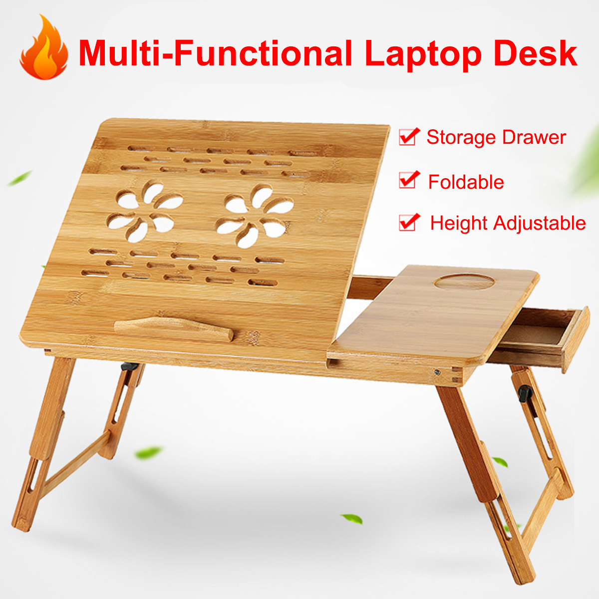 Foldable Bamboo Notebook Laptop Desk Stand Bed Tray Table Height Adjustable With 4 Angles Tilting Top Cooling Fan Drawer