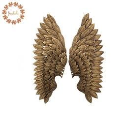 Креативный домашний декор абстрактные ретро крылья стены скульптура украшение статуэтка декоративные металлические крылья статуя ТВ фон ...