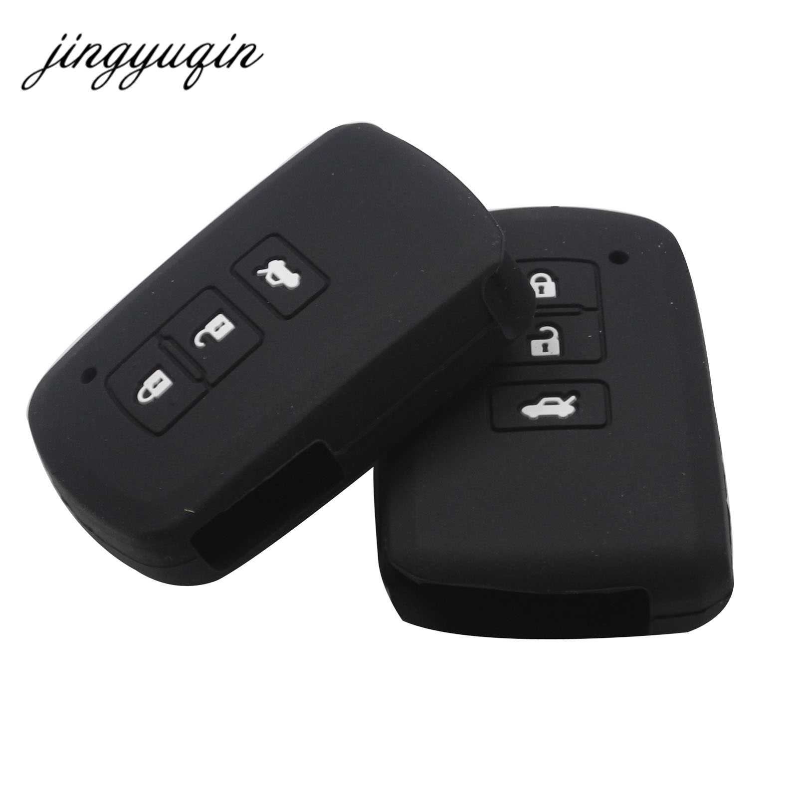 Jingyuqin Nieuwe Siliconen Smart Key Case voor Toyota Camry 7 Highlander 3 Knop Slimme Auto Sleutel Cover