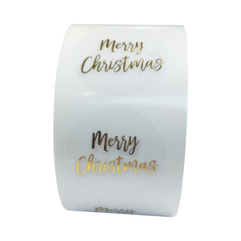 100-500pcs Round Clear Merry Christmas Stickers Thank You Card Box Package Label Sealing Stickers Wedding Decor Stationery 1