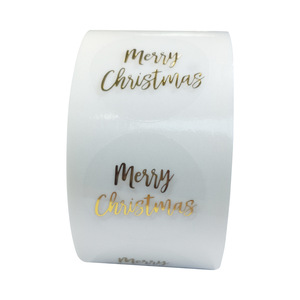 100-500pcs Round Clear Merry Christmas Stickers Thank You Card Box Package Label Sealing Stickers Wedding Decor Stationery