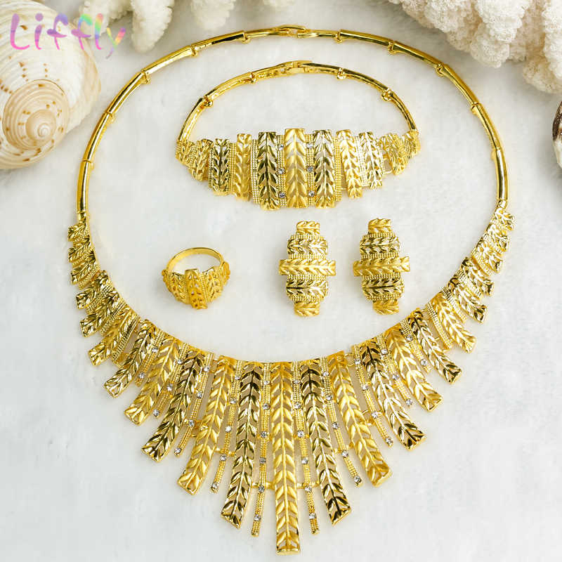 Bridal Jewelry Sets Wedding Jewelry Sets for Bride Crystal Necklace Earrings Ring Bracelet Charm Women Wheat Shape Jewelry