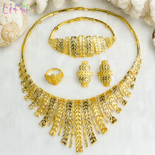 Bridal Jewelry Sets Wedding for Bride Crystal Necklace Earrings Ring Bracelet Charm Women Wheat Shape