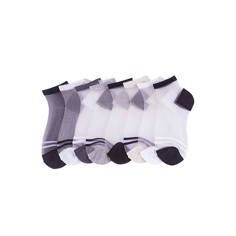 2020 Spring Patchwork Color Transparent Women Socks Soft Breathable Thin Socks For Ladies Oriignal Casual Short Sox Trendy