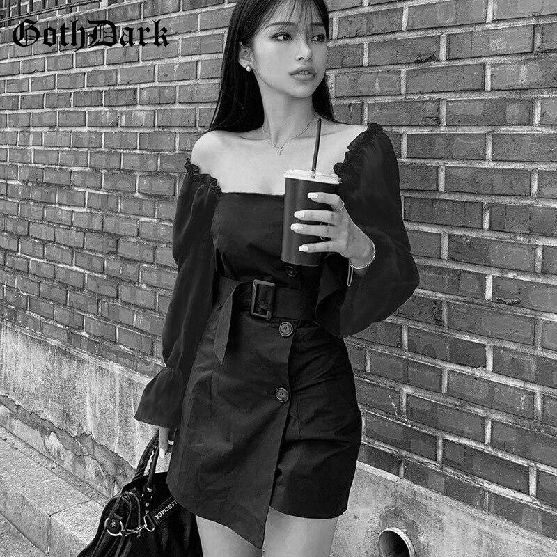 Goth Dark Black Gothic Dress Women Patchwork Sash Autumn 2019 Vintage Long Sleeve Female Mini Dress Aesthetic Backless Button