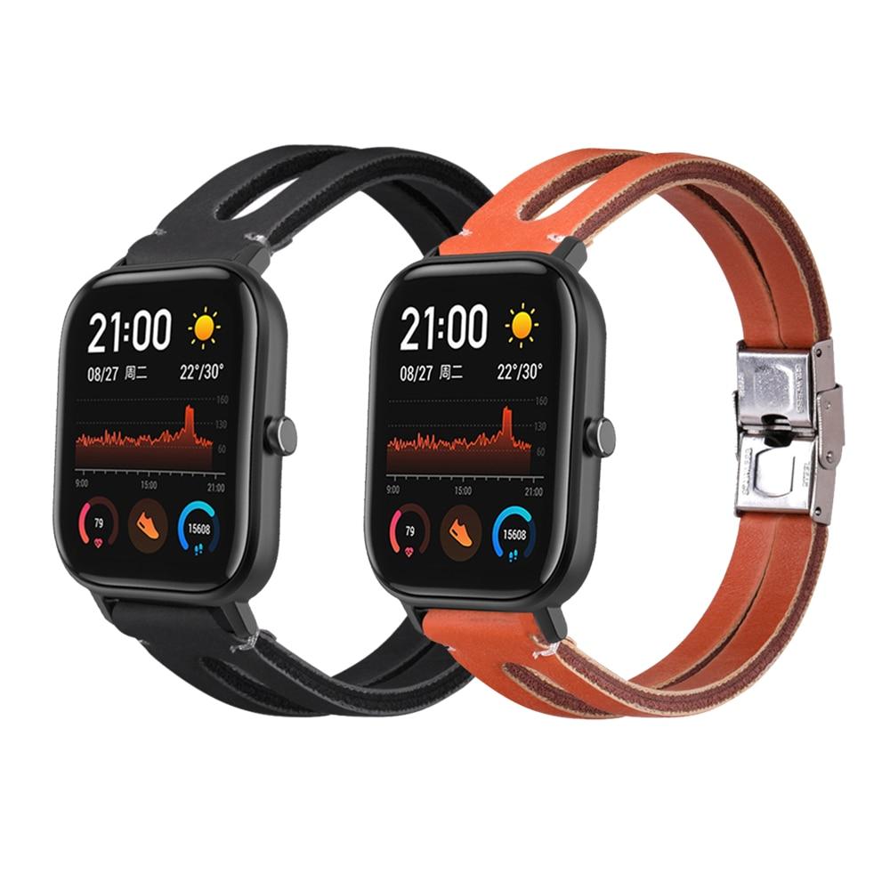Genuine Leather Wrist Strap For Amazfit Gts Amazfit Gtr 42mm Smart Watch Band For Xiaomi Huaimi Amazfit Bip Lite 20mm Watchband