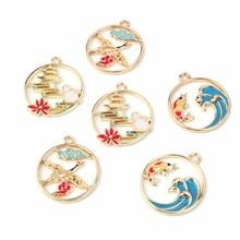 Pendentif de bijoux en alliage d'émail de Style chinois, nuage creux, lapin, accessoires pour fabrication de chapeaux, boucles d'oreilles et colliers, bricolage, 22x25mm, 6 pièces