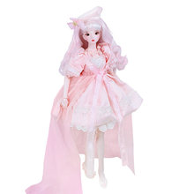 60cm DIY BJD Doll Wedding Princess Make Up Doll Set Girl's Gift - Kara Hand Painted Makeup (Face Detachable Version)(China)