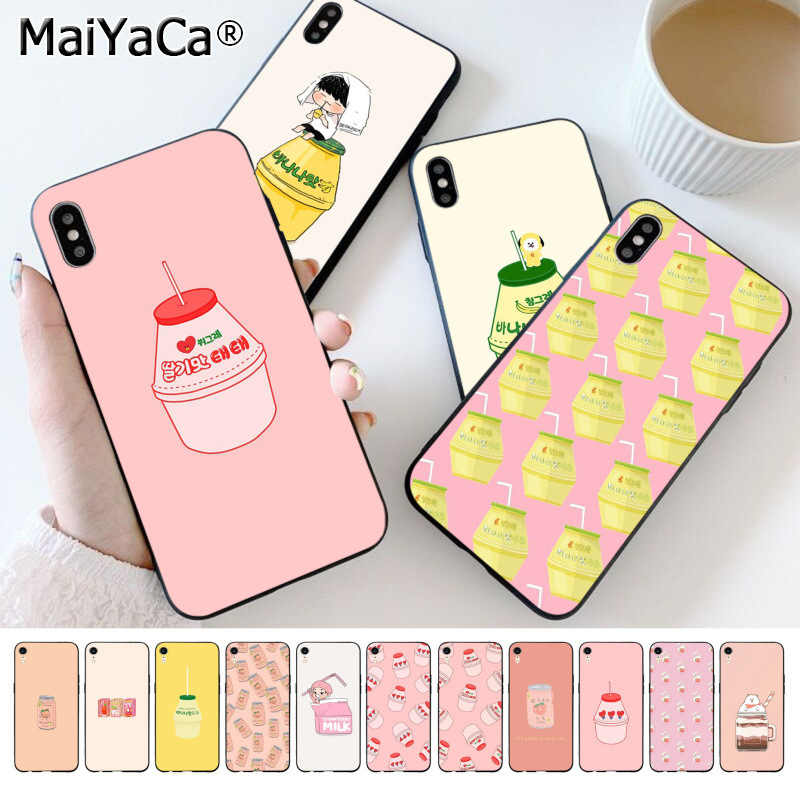 MaiYaCa かわいい韓国スタイルピンクイチゴ桃乳飲料 Tpu 電話ケースのカバー iPhone 8 7 66S プラス X XS 最大 55S 、 SE XR