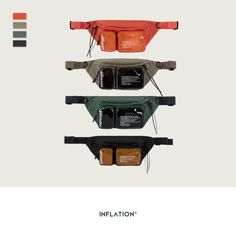 INFLATION Multi-pocket Double Zipper Streetwear Waist Bag Clear Fanny Pack Belt Bag Transparent Plastic Large Bum Bag 228AI2019