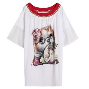 Image 5 - 2020 verão casual slash neck vestidos femininos lantejoulas dos desenhos animados apliques alargamento manga vestidos chiques