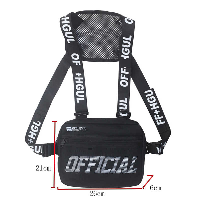 Sac de plate-forme de poitrine militaire de Style de rue pour les hommes noir Hip Hop taille fonctionnelle Packs gilet réglable gilet sacs de poitrine de mode