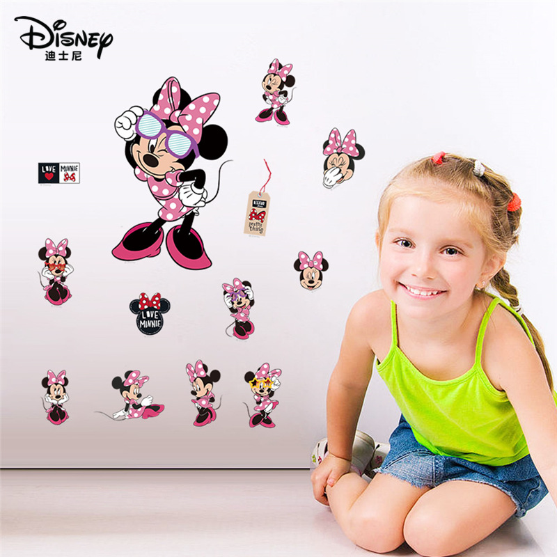 Cartoon Disney Minnie Mouse Wall Stickers For Kids Rooms Baby Amusement Park Home Decor Wall Decals Diy Posters Mural Art