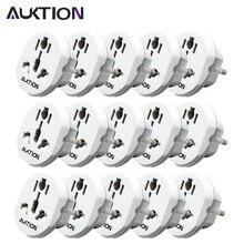 Auktion 15 pçs/lote universal viagem 16a ue adaptador plugues ac 250 v tomada conversor de energia internacional para uso em casa escritório