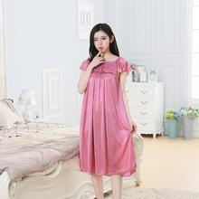 Sexy Thin Ice Silk Nightdress Ladies New Nightgown Casual Home Dress Pregnant woman Loose Sleeping Dress dress sexy woman dress